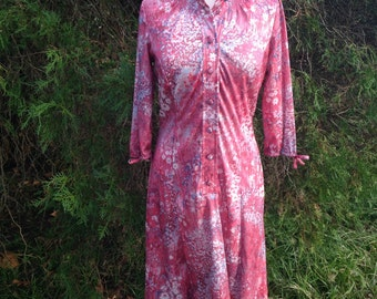 Pink floral 70's long sleeve dres with bows on the sleeves - vintage button up dress Medium