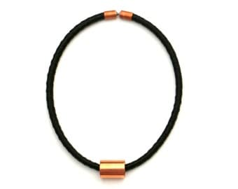 Black Choker Necklace, Textile Necklace, Short Rope Necklace, Fabric Necklace, Copper Jewelry, Textile Choker, Black Fabric Necklace