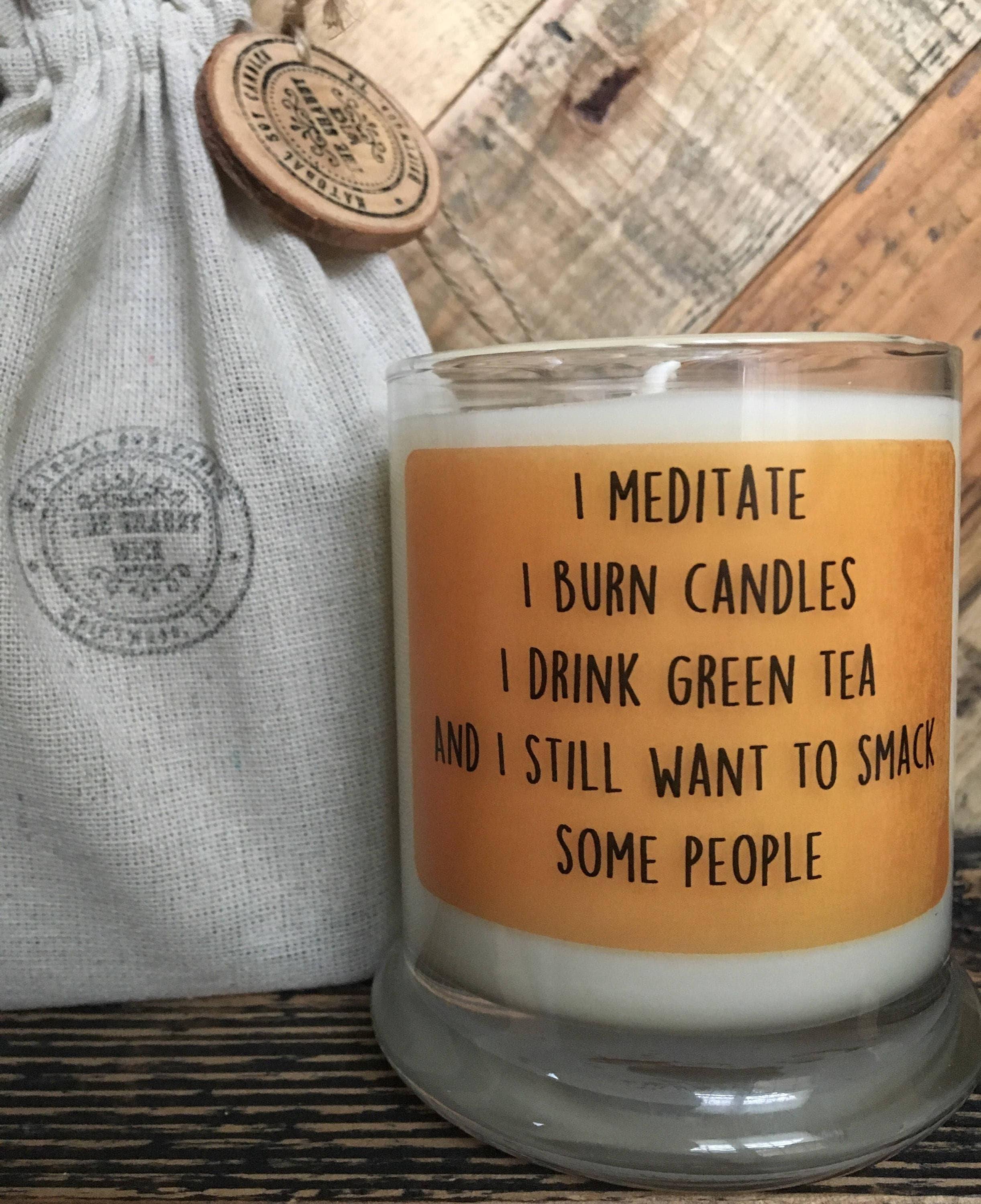 Decorative Glass Vases Soy Candle Meditate Funny Quotes Custom Candle