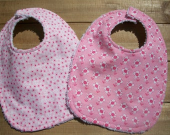 Baby/Toddler Girl Bibs Set Of 2 Pink Flowers Ready To Ship