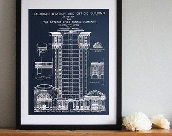 "Detroit Train Station Vintage Blueprint Silkscreened Art Poster Print 19"" x 25"""