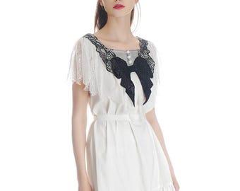 Lolita Silk Dress Short Summer Dress Bow Tie *Pink White