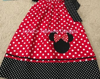 Red Minnie Mouse Pillowcase Dress - Minnie Mouse Polka dots Pillowcase Dress - Fashion Pillowcase - Red & Black Polka Dots Minnie Mouse