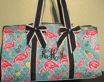 Flamingo Print Monogrammed Quilted Duffle Bag Navy Blue Trim