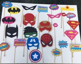Girl Super Hero Birthday Photo Booth Props/ Super hero set photo booth props
