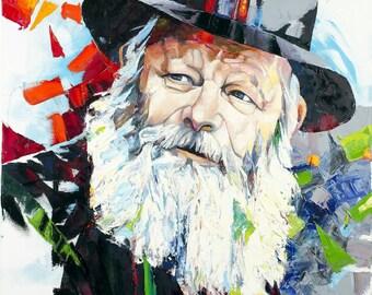 Lubavitcher Print On Canvas/Paper/Habbad Lubavitch Rebbe Contemporary Art