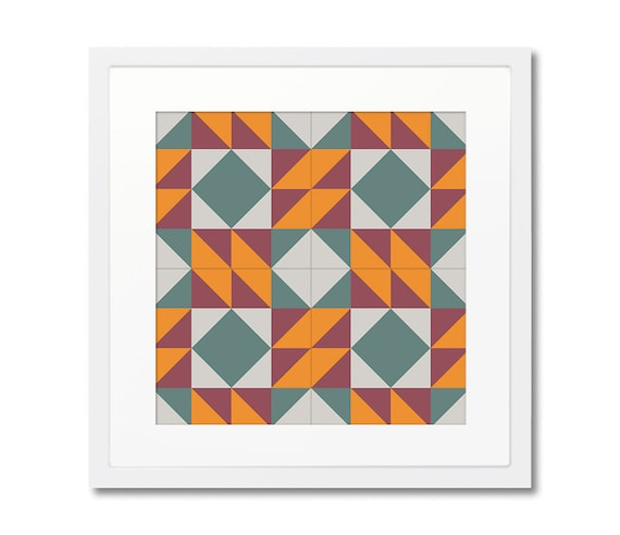 Geometric Print With Wooden Frame, Barcelona Design, Modernist Tiles, Wall Decoration, Home Decorating, Framed Print