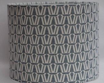 Handmade denim blue contemporary geometric print on white 100% linen drum lampshade