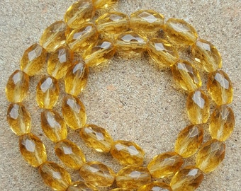 """Natural Faceted Citrine Oval Beads, approx 10.5mm x 7mm - 15.5"""" Strand"""