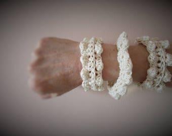 Short neck and 3 bracelet, in natural cotton, crochet hook, hand made
