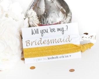 Will you be my Bridesmaid Hair Ties - Hair Ties - Bridesmaid Gift