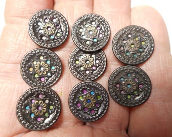 """Antique Brass Buttons Lot of 8 Matching Tinted Victorian Buttons Multi Colored Pink Blue Yellow Twinkle Liner 5/8"""" RS"""