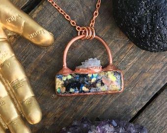 Electroformed Orgone and Spirit Quartz Copper Pendant Necklace