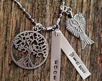 Roots & Wings hand stamped necklace, Miranda Lamberts necklace, Dodge Ram necklace