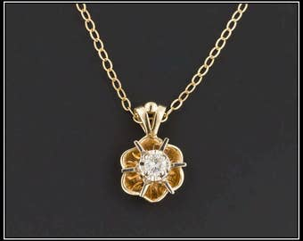 14k Gold Diamond Necklace | Vintage Diamond Necklace | 14k Gold Necklace | Vintage Necklace