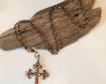 Cross Necklace, Boho Vintage Cross Necklace, Long Beaded Boho Necklace, faceted Brown Topaz glass Beads, Long Necklace, Gift for Her