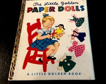 Vintage The Little Golden Paper Dolls, RARE Dolls in Book, Hilda Miloche and Wilma Kane, Simon and Schuster, Copyright 1951, First Edition,