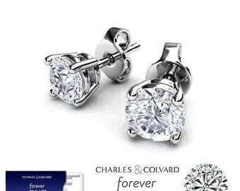 SALE !! 1.70 Carat Moissanite Forever One Stud Earrings in 14K Gold (with Charles & Colvard warranty)