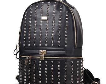 Studded backpack black