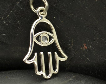Sterling Silver Hamsa Hand Charm With Evil Eye