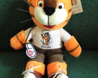 "1988 Seoul HODURI Mascot Tiger 11"" Olympic Plush with Tags Stuffed Korea RARE Joyful Stuffed Animal"