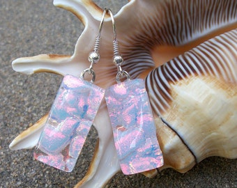 Fiery Pink Pearl Dichroic Glass Dangle Earrings