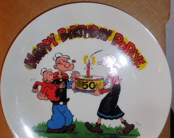 Vintage 1979 50th Popeye and Olive Birthday Plate
