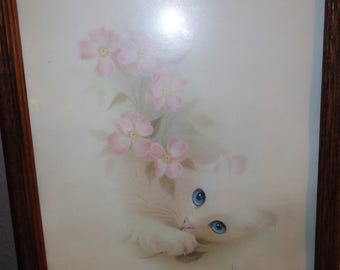 Vintage Cute White Blue Eyed Kitten/Pink Flowers/ Litho/Signed