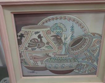 Vintage 1990 Oil on Canvas/ Katchina/ Native American Pottery/ Signed