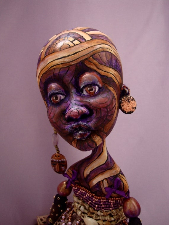 African OOAK art doll - Dark skin interior doll - Black girl poseable doll - African collectible doll as gift - ADONGO