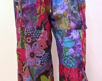 Plus Size Hippie Boho Retro Floral Patchwork Harem Pant Trouser Blue Mix 18 20
