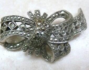 Vintage 40's Brooch, Marcasite Brooch,  Elaborate Gathered Bow, Ribbon Brooch.