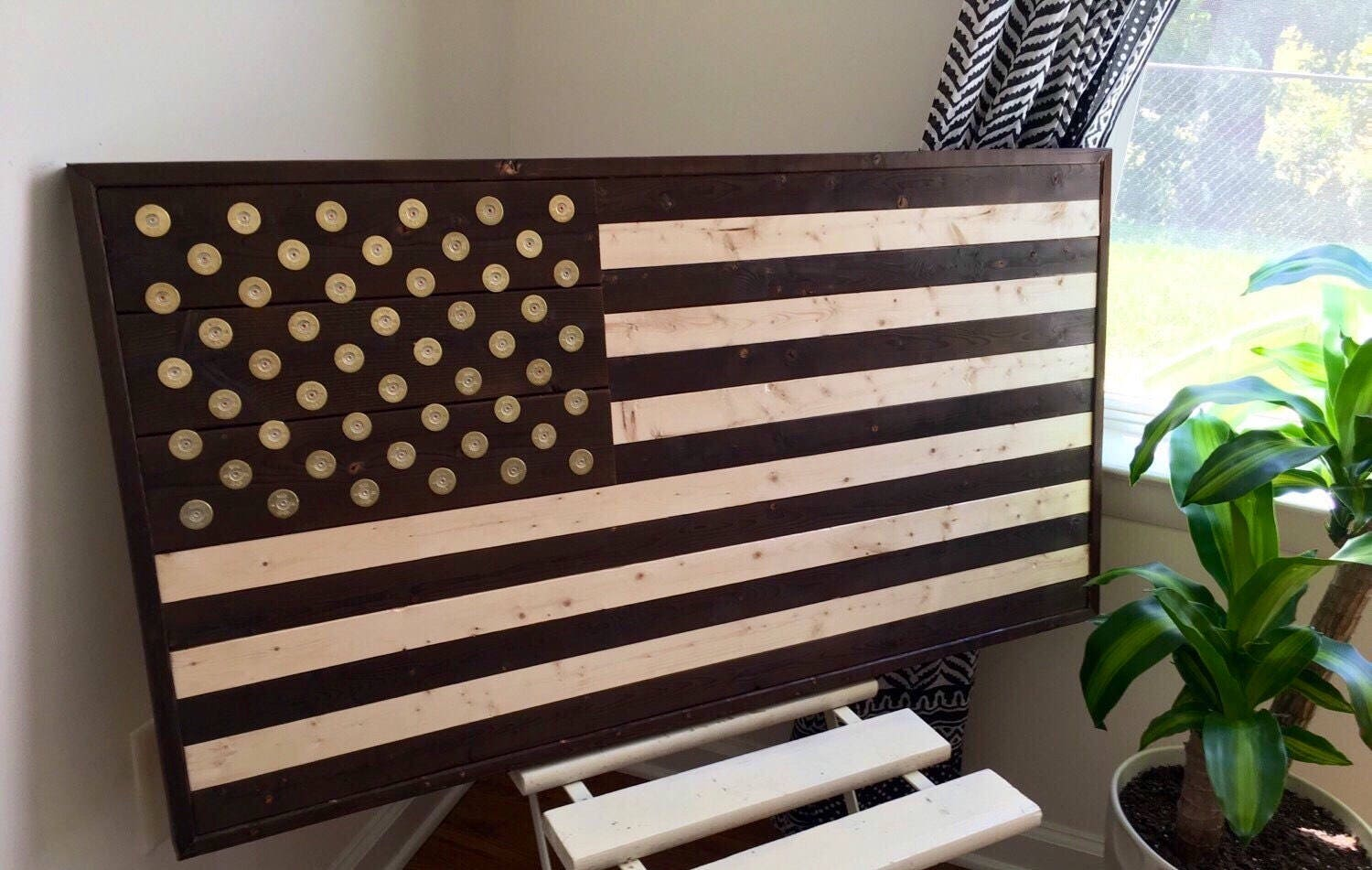 Burned Reclaimed Wood American Flag Wall Art With Winchester
