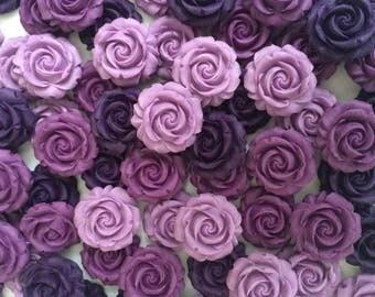 12 PURPLE ROSES edible sugar paste flowers wedding cake cupcake decorations