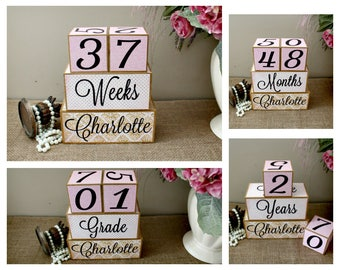 Baby Age Blocks With Name, Large Wooden Baby Blocks, Personalised Baby Milestone Blocks for Photo Prop, Baby Shower Gift, Pink and Gold