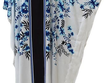 New ARWEN White Blue Black Floral Kaftan Caftan Cool Soft Long Ladies Dress Plus Ladies Womens