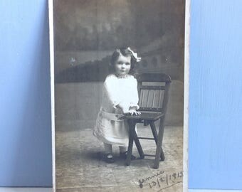 Beautiful Vintage Photograph of a Young Girl Real Photo Postcard Unposted 1915