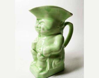 Vintage Green Ceramic Pitcher - Anthropomorphic Pitcher - Made in England