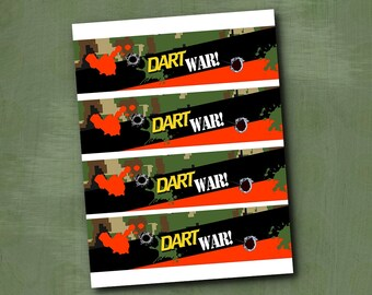 Water Bottle Labels - Dart War Birthday Party