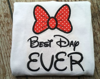 """Custom embroidered """"Best Day EVER"""" mouse shirt"""