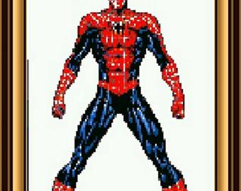 8 Bit spiderman art, spiderman print, spiderman, spiderman color, spiderman gamer inspired