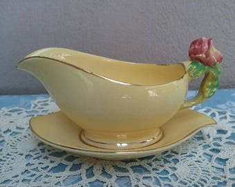 Royal Winton Rose Bud Gravy Boat / Jug And Saucer Yellow Vintage Kitchen