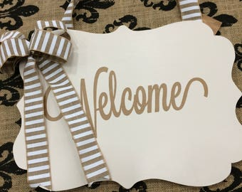 Off White Welcome Plaque