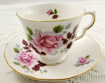 Queen Anne Tea Cup and Saucer, Vintage Bone China, Tea Cup with Pink Roses