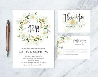 Magnolia Wedding Invitation, Wedding Invitation Magnolia, Magnolia Wedding, Southern Wedding Invite, Wedding Ivitation Suite, DIGITAL FILE