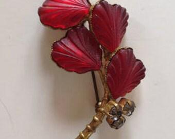 Red Austrian Fruit Motif Brooch