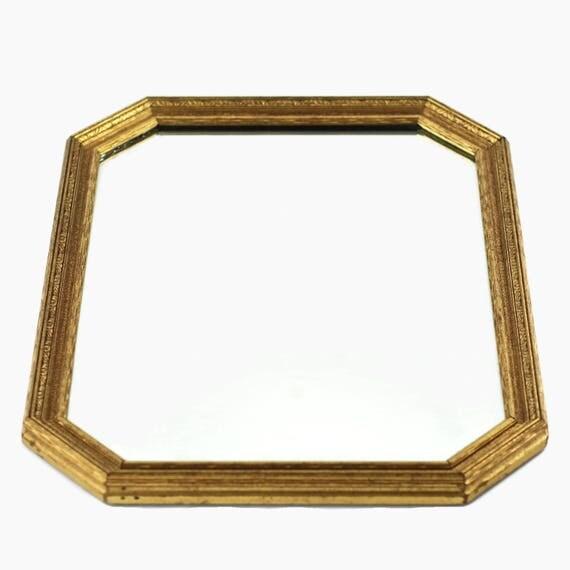 Antique octagonal beveled mirror in gilt wood frame for Octagon beveled mirror
