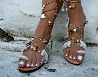 FREE SHIPPING _ Bohemian Tie Up Leather Sandal : Paros