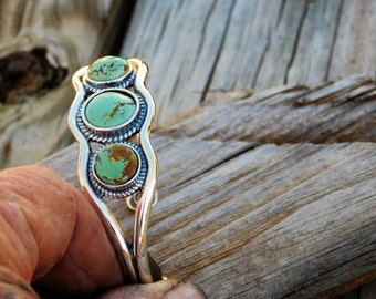 Sold Special Order Available Natural Turquoise and Sterling Silver Bracelet