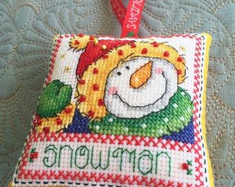 "Handmade Cross Stitch Christmas Ornament, Christmas Tree Decoration, Cross Stitch Christmas decoration, ""Winter Characters---Snowman"""